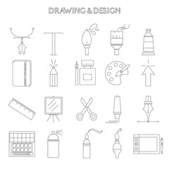 Graphic design and drawing icons