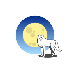 Vector animal logo. Large moon icon. Wolf icon. Also O letter logo with white wolf in the moonlight