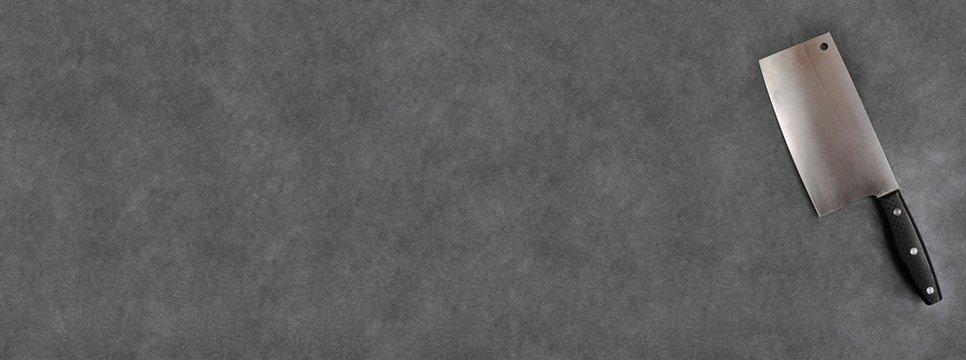 Feuille hachoir de boucher sur ardoise, carte, menu,bannière
