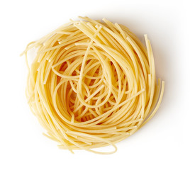Pasta nest isolated on white, from above