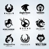 Animal Logo Collection Animal Logo Set Eagle Logo Snake Logo