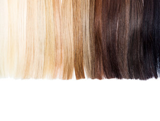 Partly isolated palette samples of dyed hair from blond to black