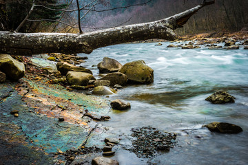 beautiful landscape with river flowing in mountains