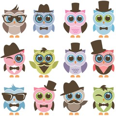 gentleman and hipster owl icons set