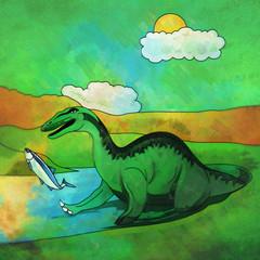 Dinosaur in the habitat. Illustration Of Baryonyx