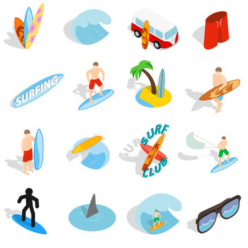 Surfing isons set, isometric 3d style