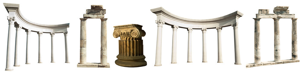 Collection of different ancient Greek columns isolated on a white background Fototapete