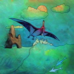 Dinosaur in the habitat. Illustration Of Pterosaur