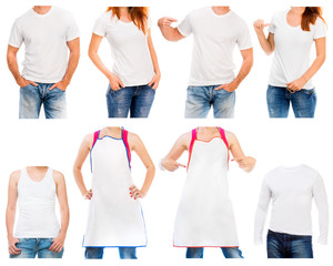 Collection of different white t shirt and apron  on a young man and woman isolated on white background