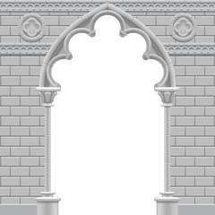 Stone gothic arch and wall in black and white colors