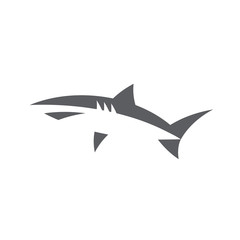 Shark in abstract minimal negative space logo design style flat fish on white background