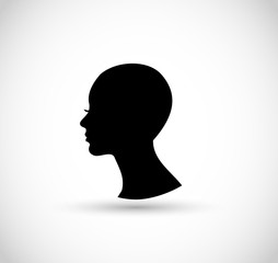 Woman profile silhouette with bald head vector