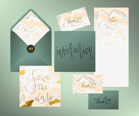 Suite photos royalty free images graphics vectors videos wedding marble textured invitation suite invitation card menu and envelope vector templates with peach stopboris Image collections