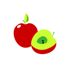 Sliced and halved red apple illustration vector