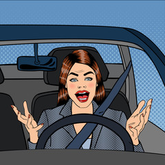 Angry Woman Driver. Aggressive Woman Driving Car. Pop Art. Vector