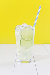 Lemonade with ice cubes.