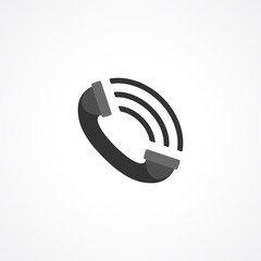 Telephony. Phone call. Fine flat icon of a phone isolated on white background. Telephone receiver vector pictograph. This phone icon can be used in your design. 10 EPS vector file