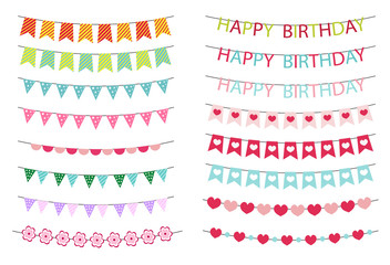 Colorful bunting and garlands set isolated on white. Celebration decor. Party bunting background. Vector illustration;