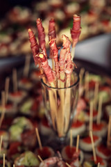 Crispy bacon skewers