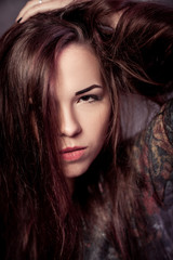 cute girl with long hair
