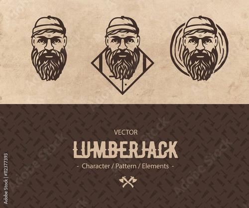 Vector Lumberjack Face Illustration Logo