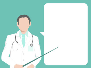 The doctor in a white robe with a pointer in his hand. White space for text.