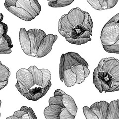 Vector graphic hand-drawn ink seamless pattern of tulip flowers in a linear style. Vintage texture. Drawn on paper and traced buds of tulips from different angles. For textile, fabric, invitation.