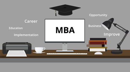 mba degree with computer monitor hat books training educationvector graphic illustration