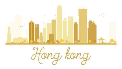 Hong Kong City skyline golden silhouette.