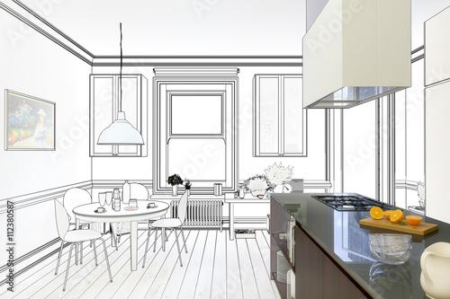 Renovierung einer Küche (Zeichnung)\