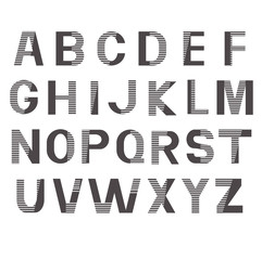 Alphabet vector fonts. Printed gray striped letters