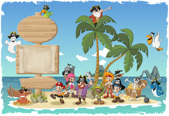 Wooden sign on a beautiful tropical island with cartoon pirates.