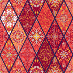 Vector seamless texture. Beautiful mega patchwork pattern for design and fashion with decorative elements