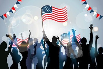 People Silhouette Crowd Hold Flag United States America Independence Day Party