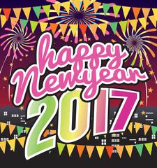 Happy New Year 2017 Celebration Vector Illustration.
