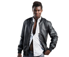 Handsome black man posing in studio