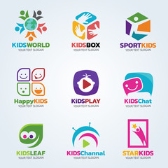 Kids logo for business vector art set design