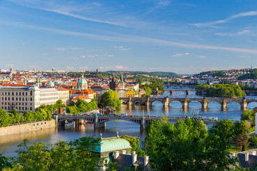 Pargue, view of the Lesser Bridge Tower and Charles Bridge (Karluv Most), Czech Republic.