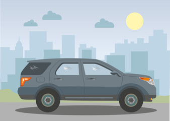Jeep on the background of the city. Vector illustration.