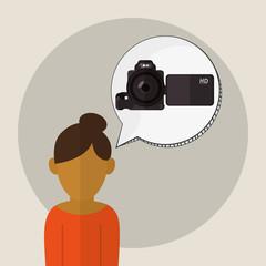 camera icon. Gadget concept. Flat illustration , vector