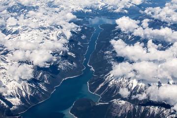 Aerial view over Kinbasket Lake, British Columbia, Canada