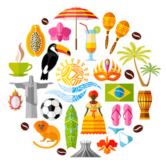 Traditional national symbols of Brazil. Set of Brazilian icons. Vector illustration in flat style. Collection of souvenirs, attributes and design elements on Brazilian themes.