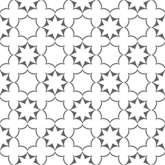Seamless delicate stylized flowers and stars pattern