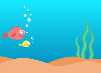 Colorful underwater background, undersea world with fishes and seaweed with place for text