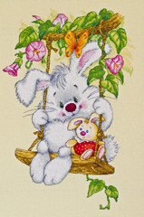 The picture for children's room - Sunny Bunny . Cross-stitch.