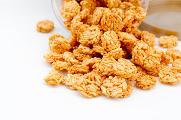 crispy rice cereal on white rable
