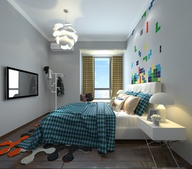 3D illustration bedroom Interior
