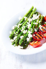 Grilled Asparagus and Cherry Tomatoes with Feta Cheese