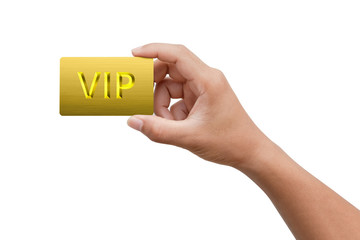 hand picking VIP or very important person platinum card on white