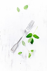 Vintage Fork with Fresh Herbs